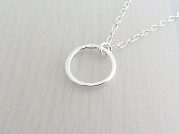 Sterling silver single circle infinity ring pendant necklace 14mm sterling silver single circle infinity ring pendant necklace 14mm by purple wyvern jewels aloadofball Choice Image
