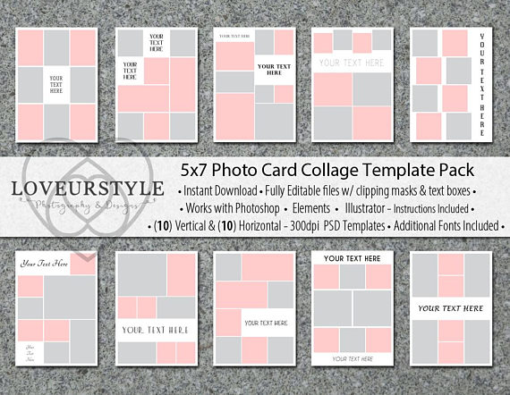 5x7 Photo Card Collage Template Pack 20 Templates Included Photo Collage Card Templates Photo Template Invitation Templates Cards Collage Template Photo Collage Template Photo Template