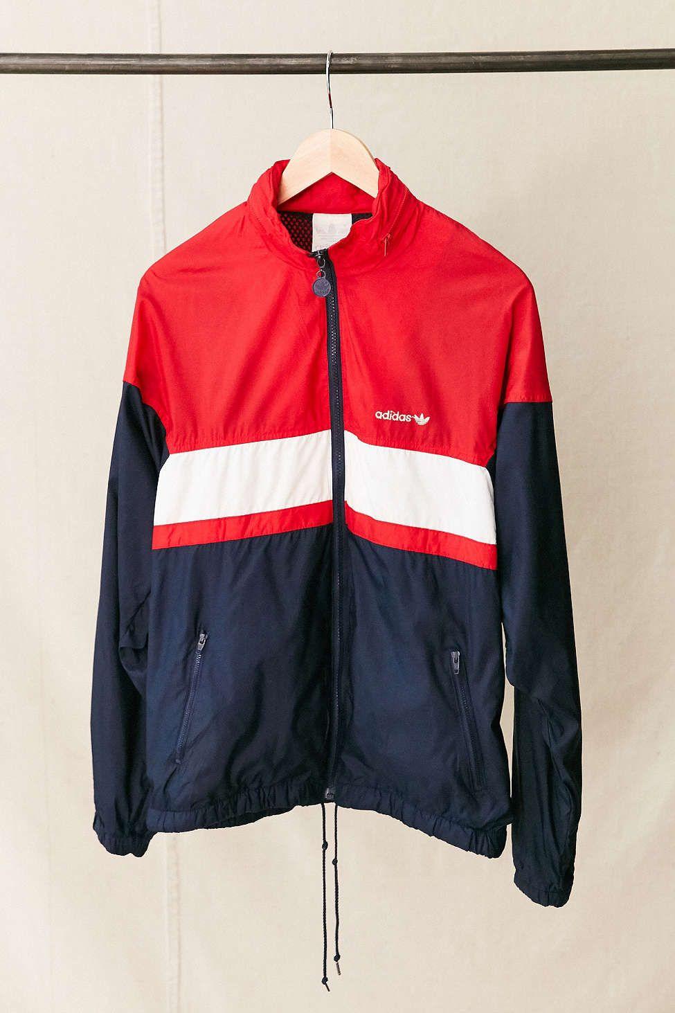 Vintage Adidas Red White Blue Windbreaker Jacket Vintage Or