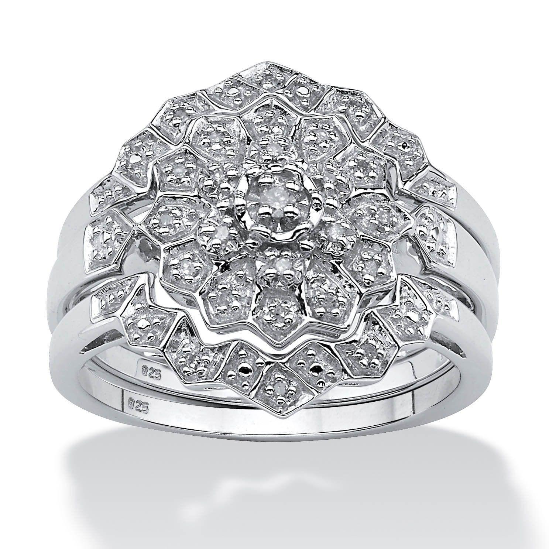 Platinum/Silver 1/7 TCW Round Diamond 3Piece Bridal