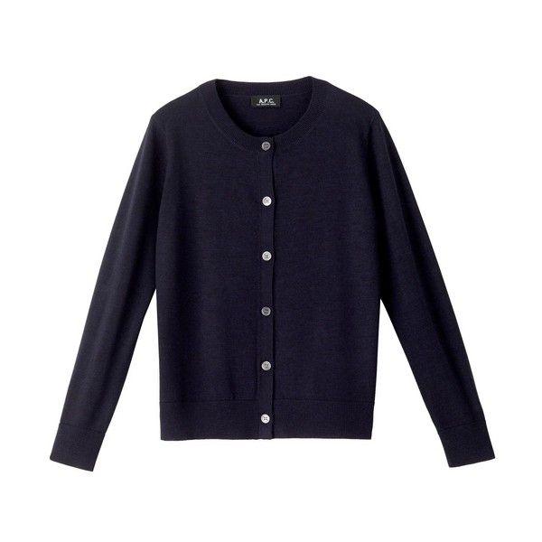 Merino wool cardigan - NAVY BLUE CHINÉ - A.P.C. WOMAN (£140 ...