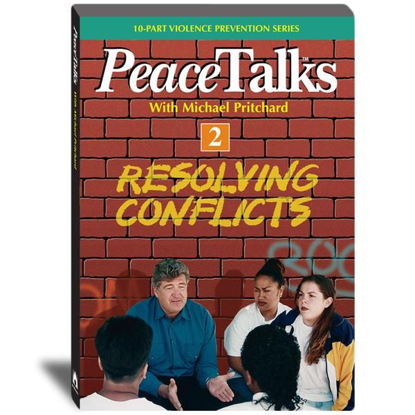 PEACETALKS RESOLVING CONFLICTS DVD Product Number : 349882 This program examines the reasons why so many teen disagreements turn into conflicts and fights. Teens learn the importance of good communication skills in resolving conflicts, and how to cool out conflicts before they become violent. Real life confrontations are de-escalated when teens respect each others feelings and learn to assert themselves in non threatening ways.