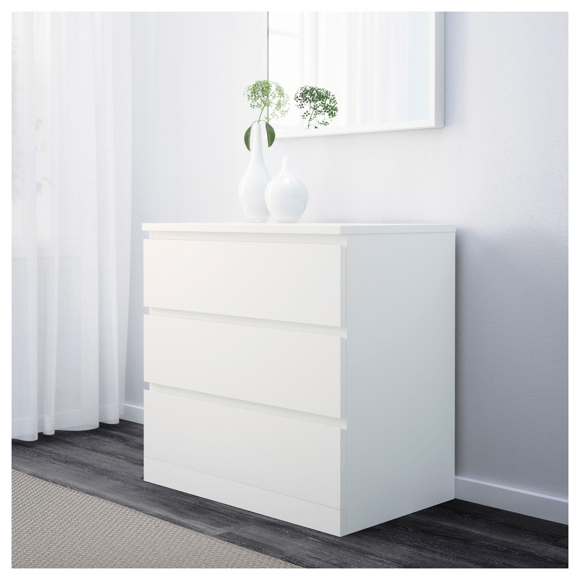 Malm 3 Drawer Chest White Ikea White Furniture Furniture Malm