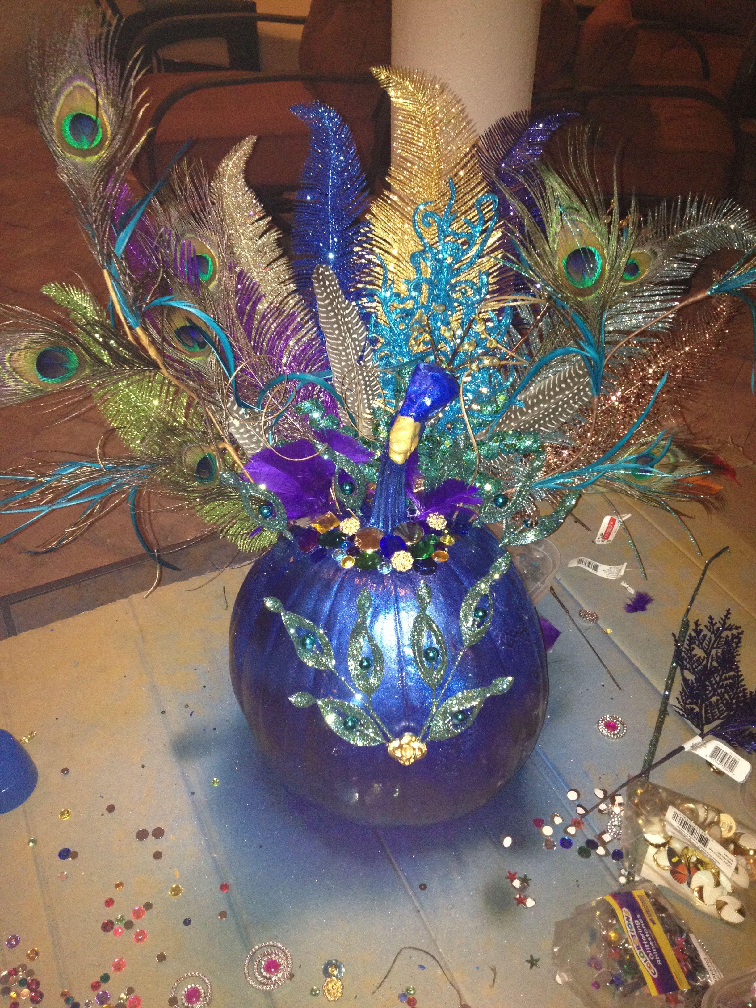 Peacock Pumpkin Pumpkin halloween decorations, Pumpkin