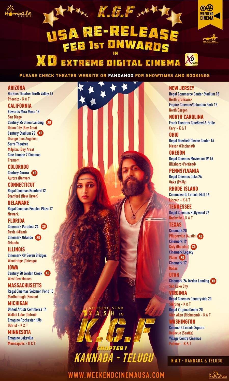 Kgf Movie Usa Re Release Theaters List Social News Xyz Movies Online Movie Schedule Digital Cinema