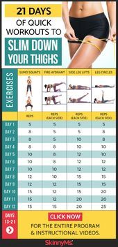 21 Days of Quick Workouts to Slim Down Your Thighs  #fitness #quick #thighs #workouts