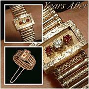 SALE Antique VICTORIAN Bangle Bracelet Rose Gold Filled CLEAR Paste Stone Garnet Glass ...