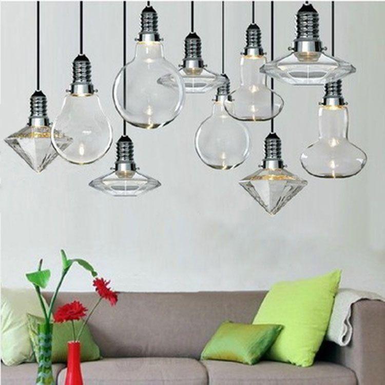 Nordique Moderne Cristal Diamant Plafond Pendentif Lampe H´tel Café