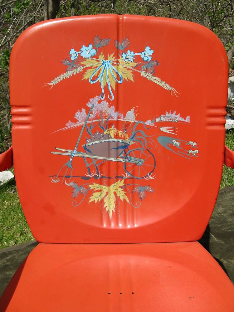 Vintage Modern Metal Spring Garden Porch Chair Hand Painted Signed Wei Dong  . Want This So