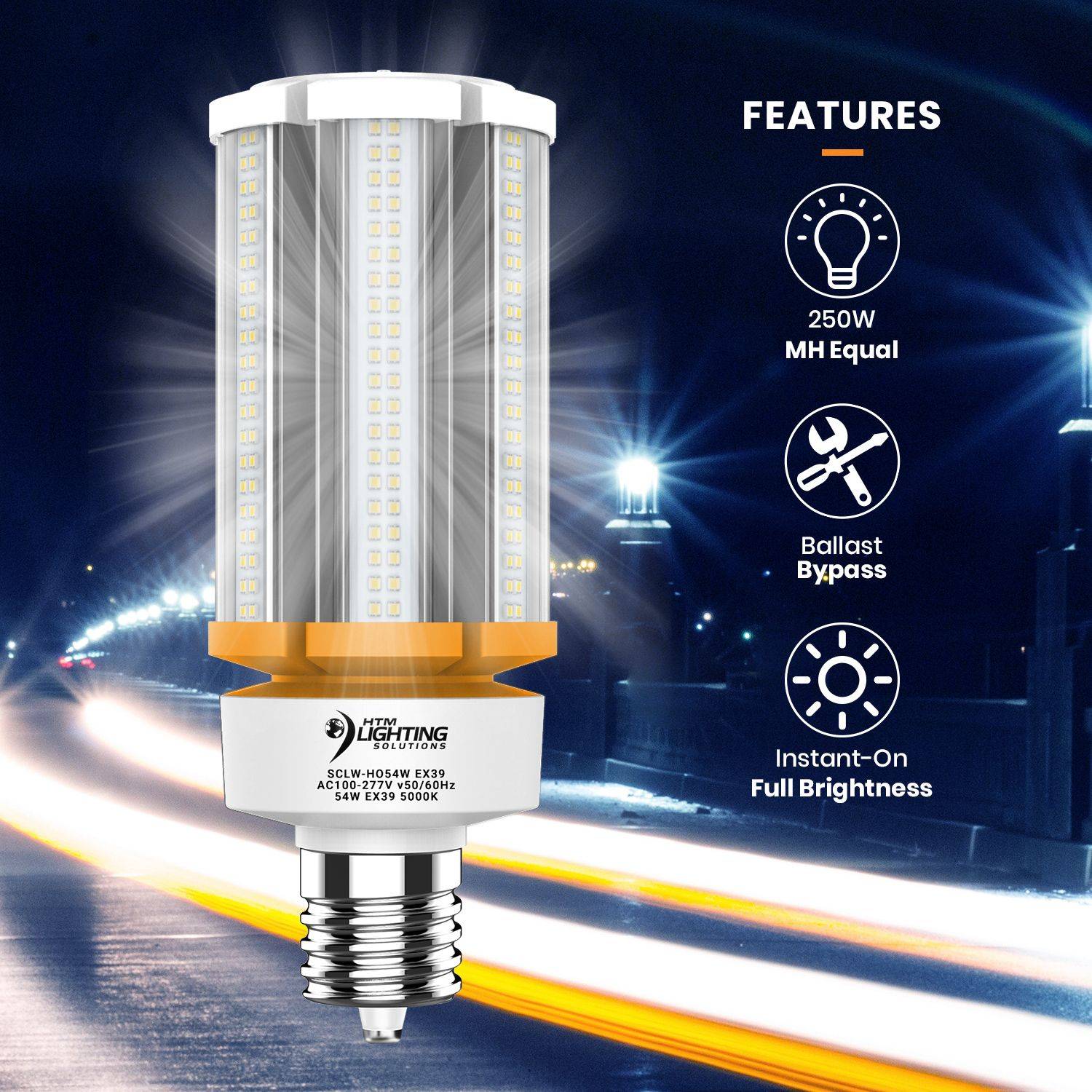 54w Led Corn Light Bulb 250w 300w Metal Halide Equal 8 100 Lumen 150lm W Ex39 Mogul Base Security Lights Light Architecture Bulb