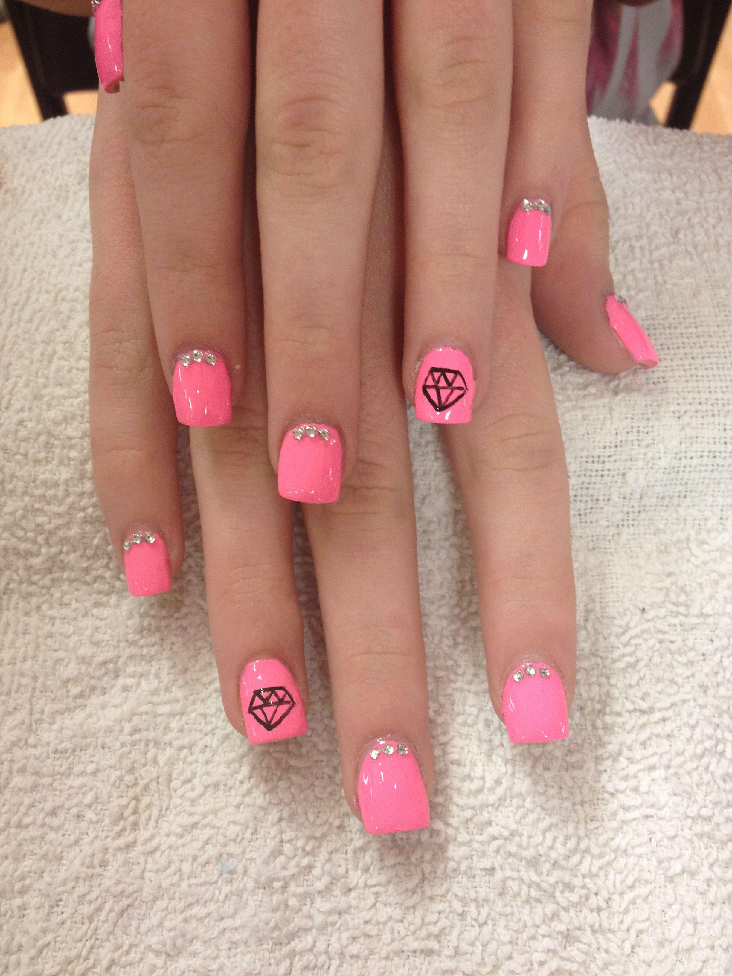 Diamond nails with gems | Nails | Pinterest | Diamond nails, Nail ...