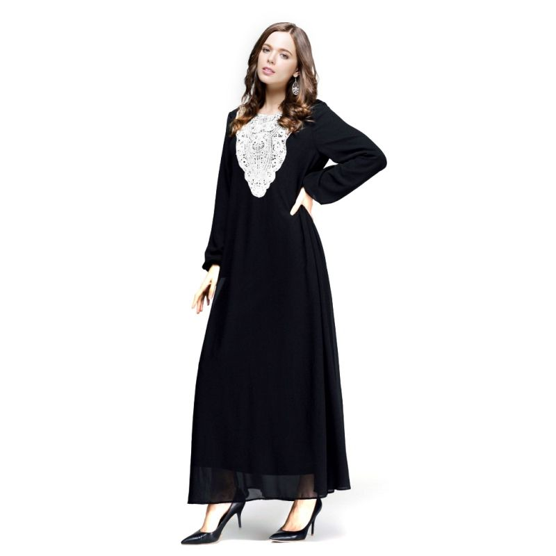 Kaftan Jilbab Islamischen Muslimischen Abaya Frauen Chiffon Maxi Langarm  Kleid S4 0ec6b93f9a