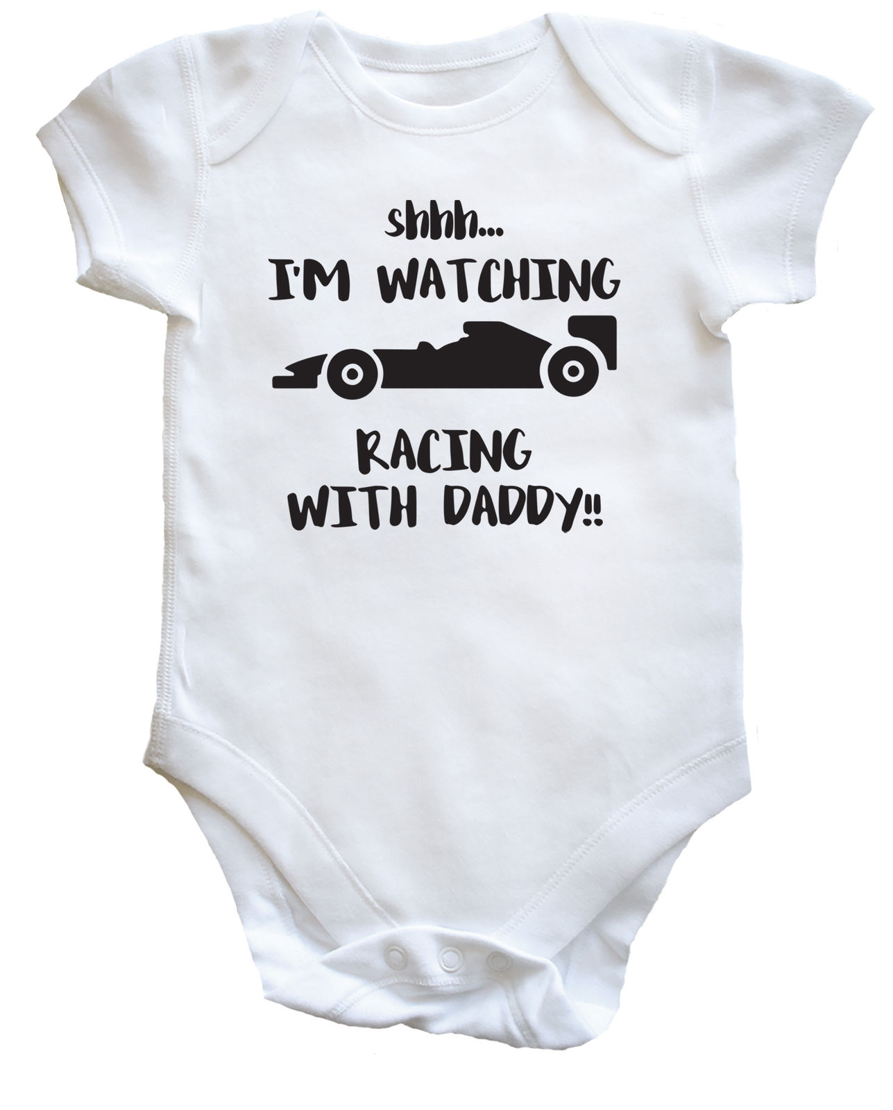 Shh I/'m Watching Racing with my Daddy Baby bodysuit LONG SLEEVE dad F1 13397