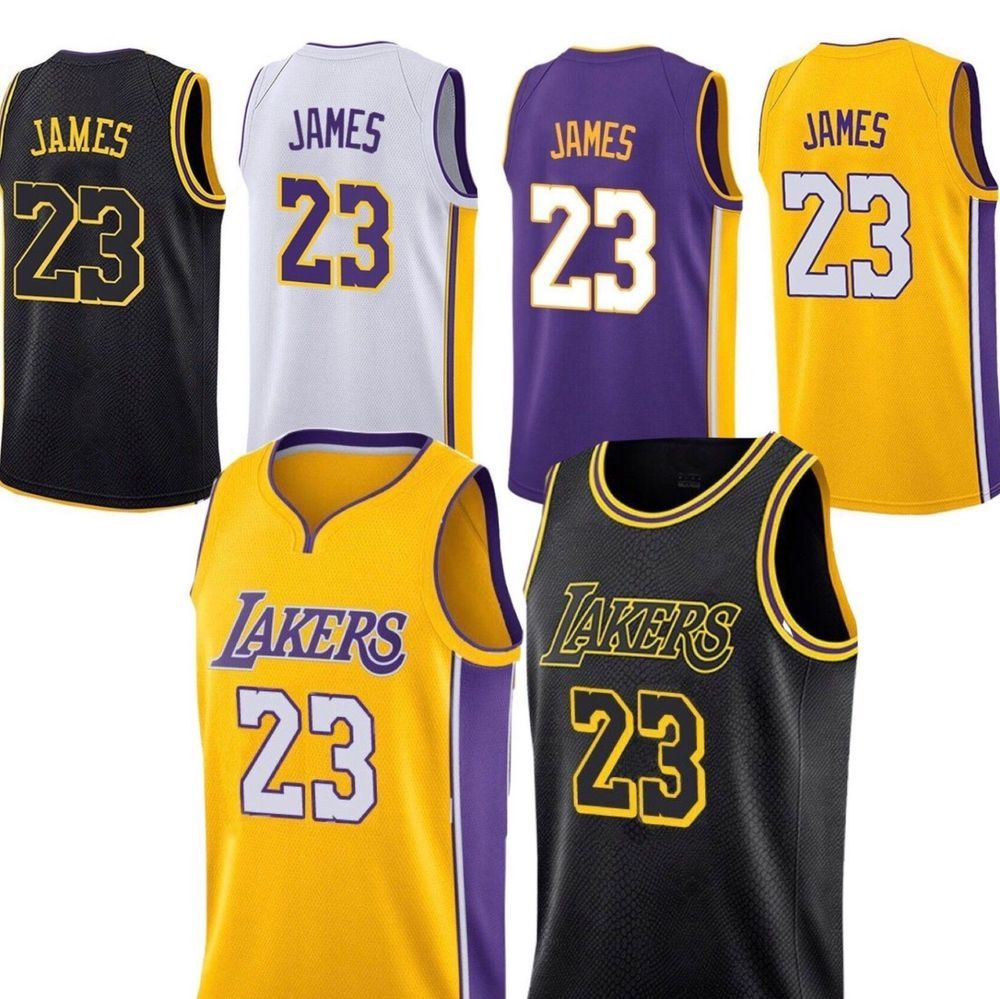 488da0016 NEW Los Angeles Lakers Lebron James Jersey  23 Black White Purple Yellow   LosAngelesLakers