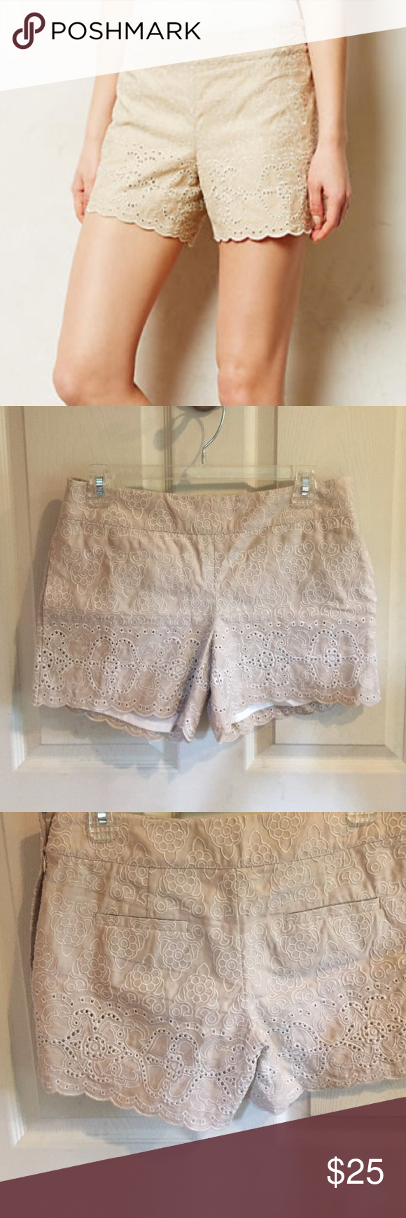"Anthropologie Scalloped Eyelet Shorts By Elevenses. These are super cute, but too big for me. Linen/cotton with a cotton lining. Side zip; back pockets. Waist is about 15.5"" flat no dip; rise is about 8.25""; inseam is about 4.5"". Gently worn. Anthropologie Shorts"