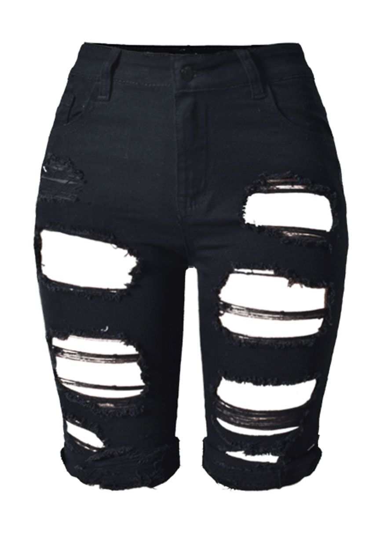 High Waist Wash Denim Destroyed Bermuda Shorts_Denim Shorts ...