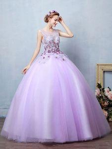 7eb8e3a082f Vestido para quinceañeras de color lila con escote redondo sin mangas con  perlas