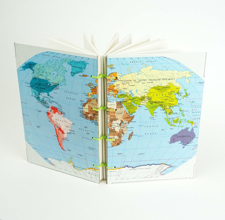 World map journal reclaimed map notebook travel journal gap world map journal reclaimed map notebook travel journal gap year world notebook gumiabroncs Gallery