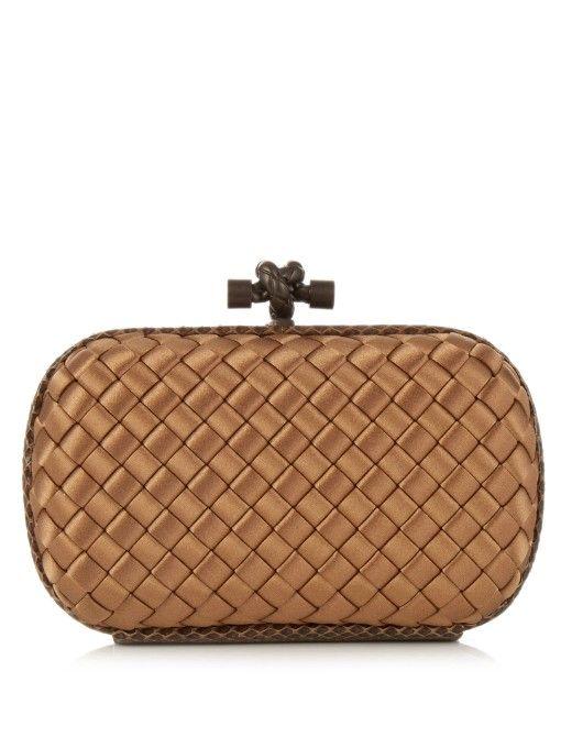 BOTTEGA VENETA Knot Satin And Water-Snake Clutch.  bottegaveneta  bags   lining  clutch  metallic  hand bags   89f1510cb6
