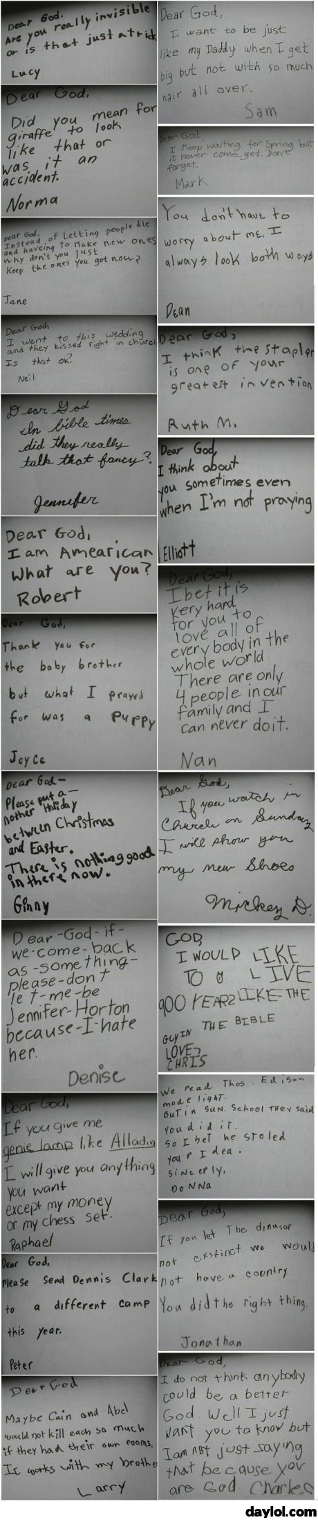 When kids write letters to god - DayLoL.com - Your Daily LoL!  #funny #kid #notes #letters