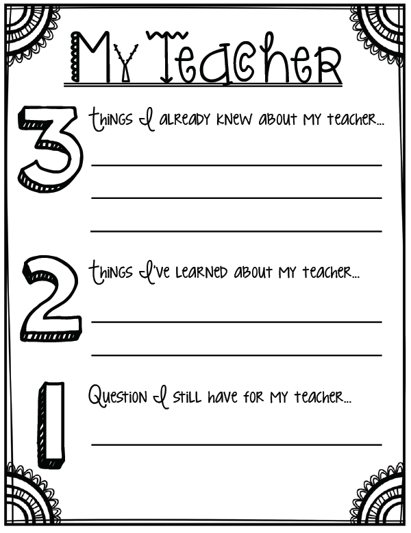 School Worksheets For 4th Graders : About my teacher back to school printables for