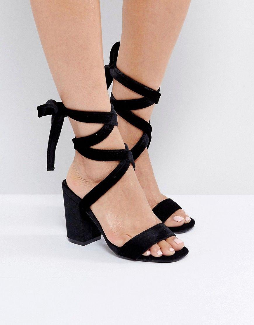 Park Lane Tie Ankle Block Velvet Heel