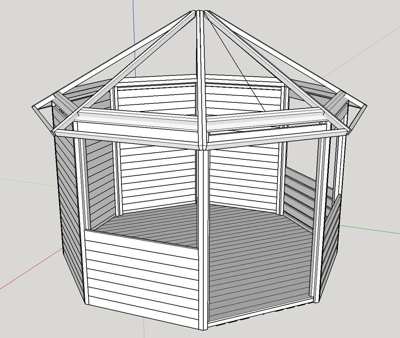 garten-pavillon 8-eck selber bauen | pavillon, gartenhaus