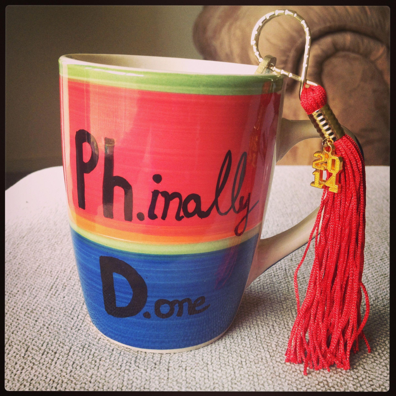 Diy mug along with tassel keyholder gave as a gift to my