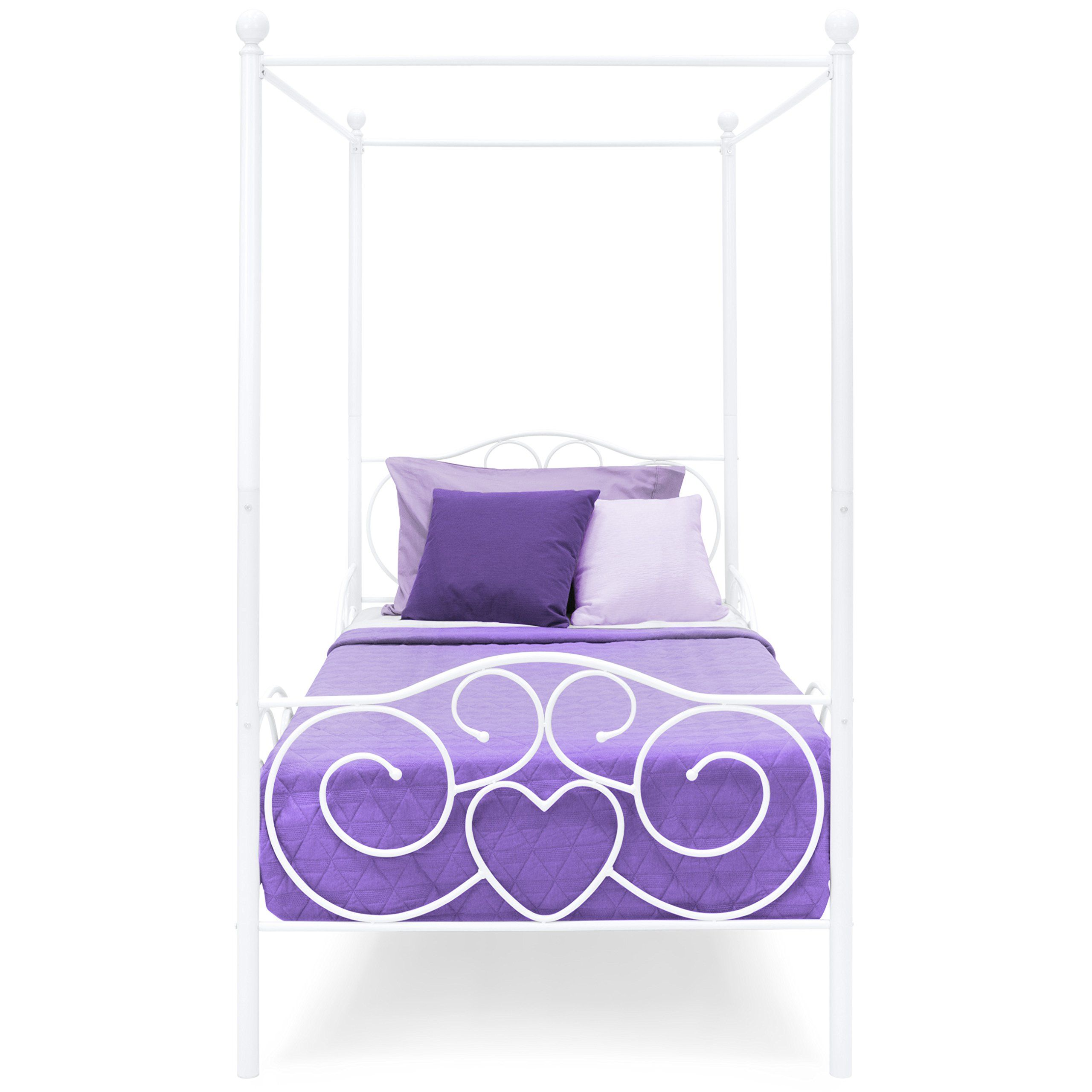 Best Choice Products 4 Post Metal Canopy Twin Bed Frame w/Heart ...