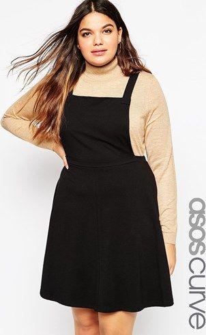 Vestido estilo pichi básico de punto de ASOS CURVE asos el-negro Algodón