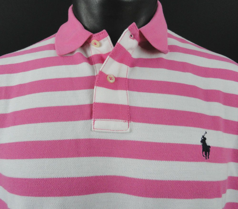 Mens Polo Ralph Lauren Custom Fit Baja Pink White Striped Mesh ...