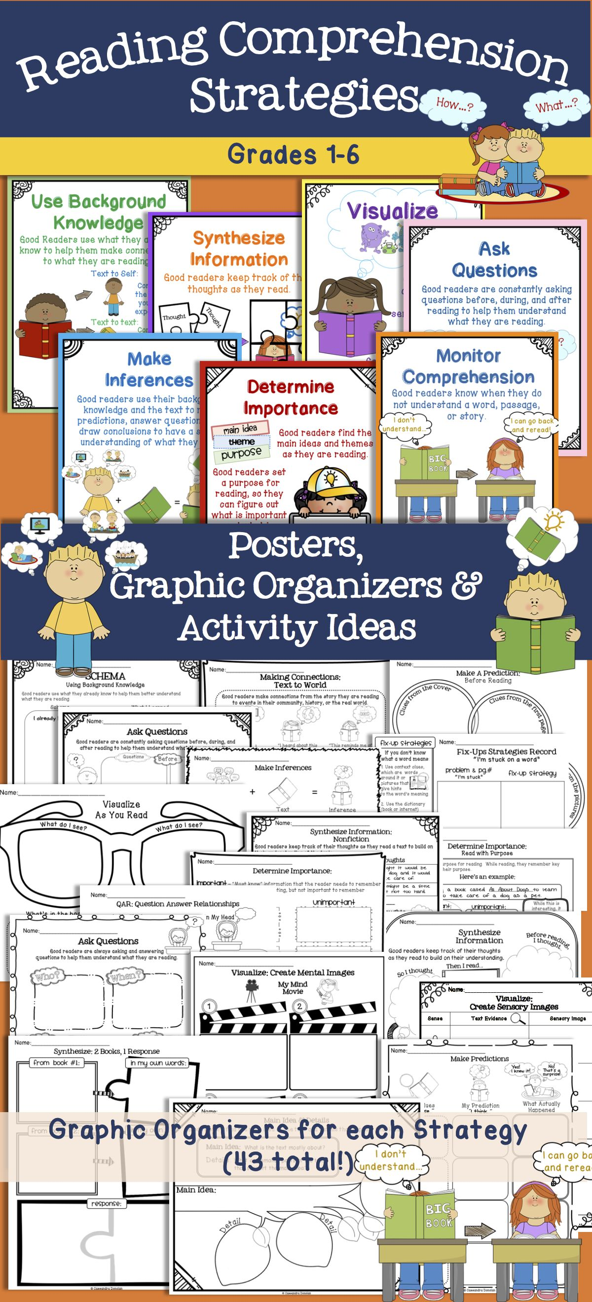 Reading Comprehension Strategies Posters Tons Of Graphic Organizers Grades 1 6 Research Based From 7 Keys To