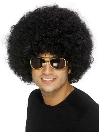 Afro Perücke schwarz Lockenperücke Afroperücke Locken Hippieperücke Disco unisex