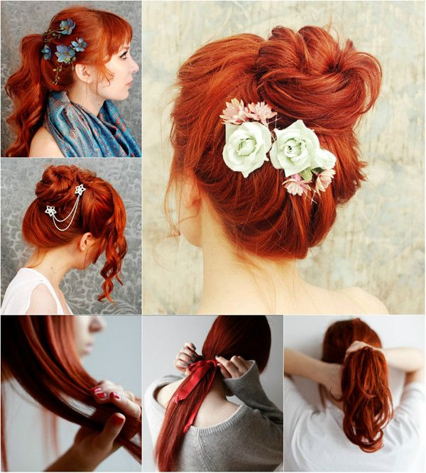 Super lange Haare in Orange Ombre mit Clip in ...