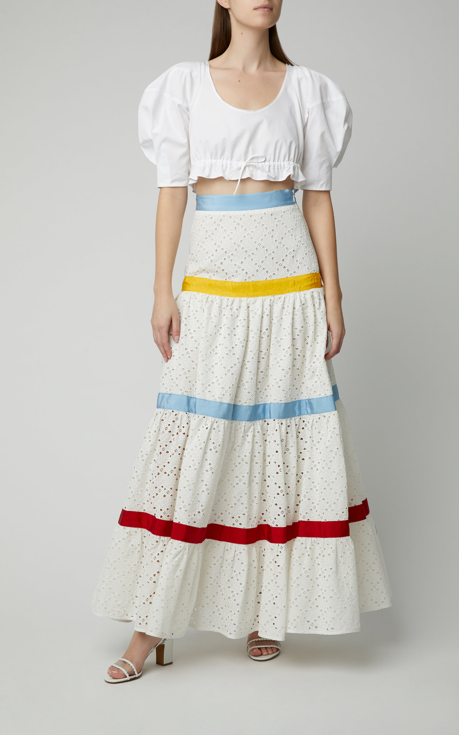 9b84fe21b9 Sangallo Tiered Skirt by STELLA JEAN - white skirt with blue, yellow, and  red stripe