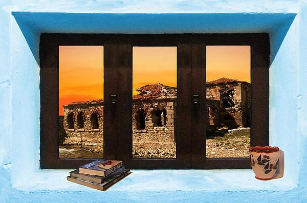 Window Into Greece 5 Outlook.  A New collection of digital paintings by Eric Kempson Eftalou, Molyvos, Lesvos, Greece  http://eric-kempson.artistwebsites.com www.epsilon-art.com