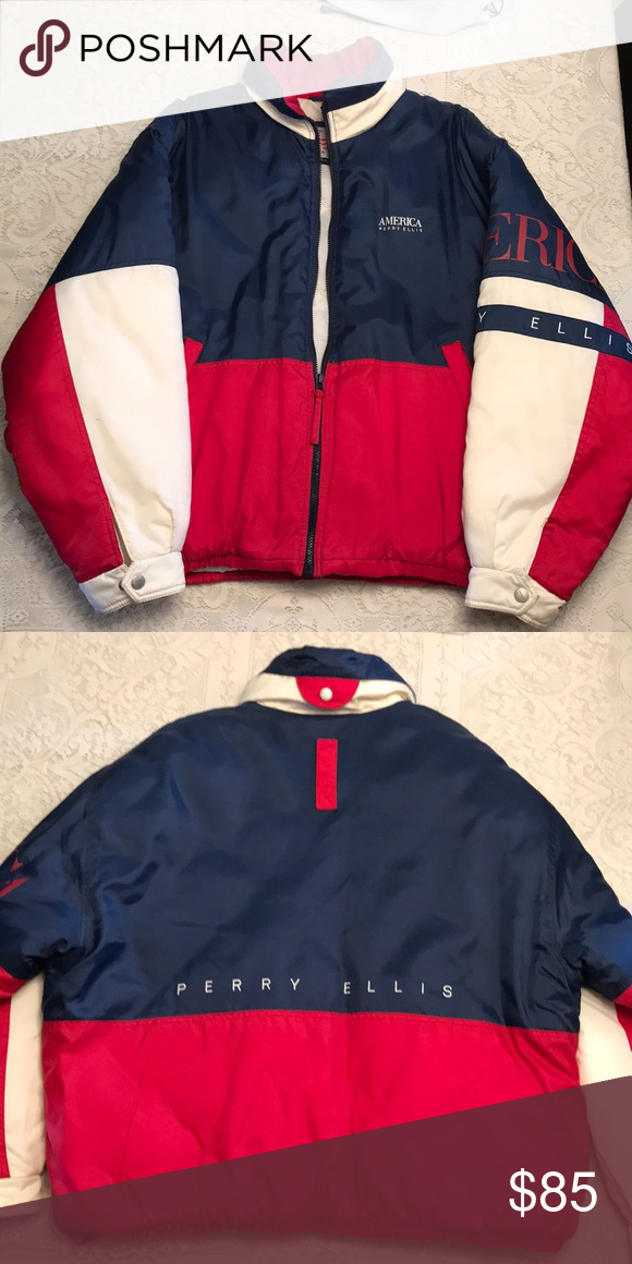 bdbaf82a1 Original Perry Ellis Bomber Jacket Vintage Red, White and Blue Bomber Jacket  America Perry Ellis Perry Ellis Jackets & Coats Bomber & Varsity