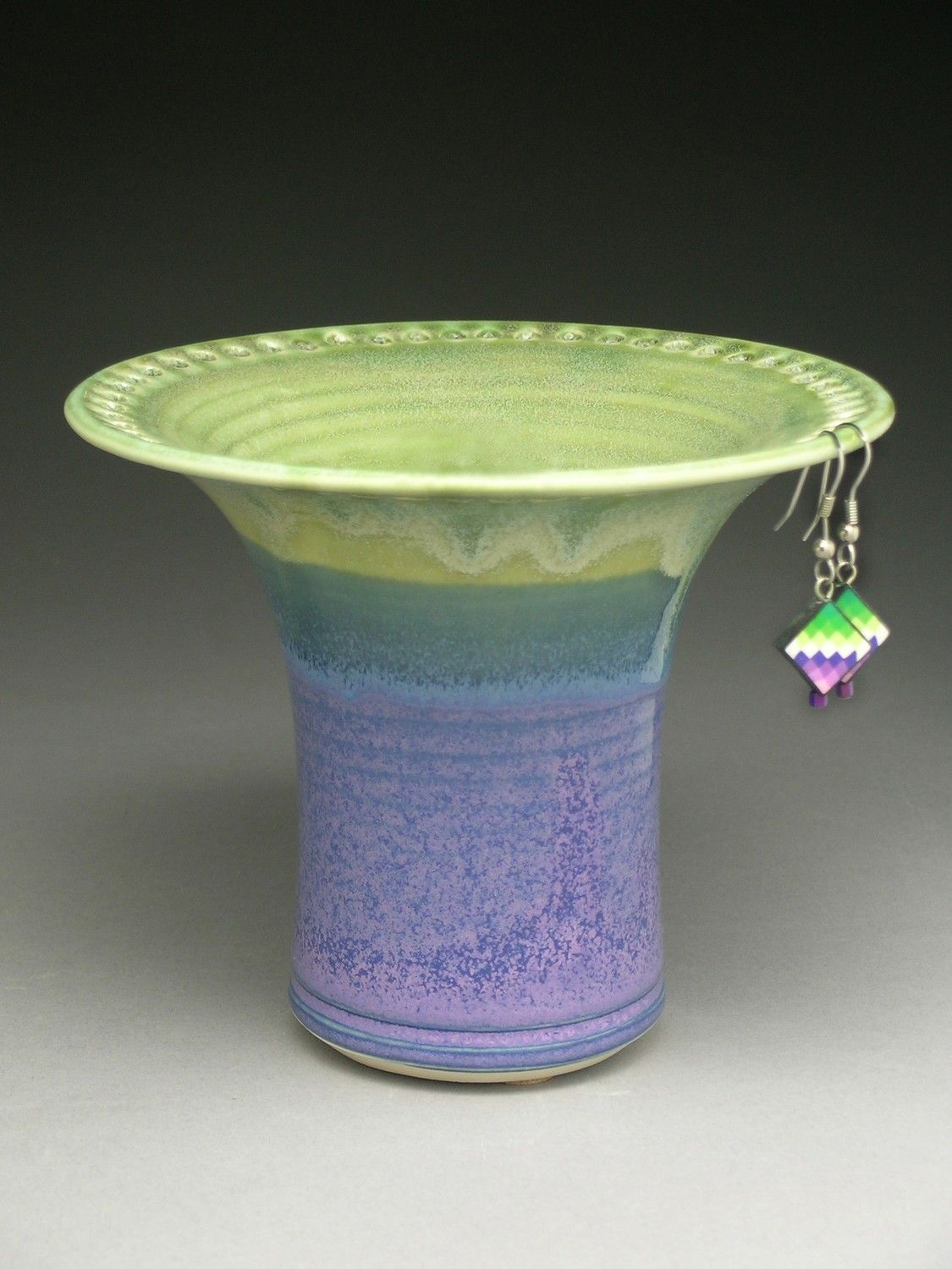 Ceramic Earring Holder  Lime Green & Purple $2900, Via Etsy