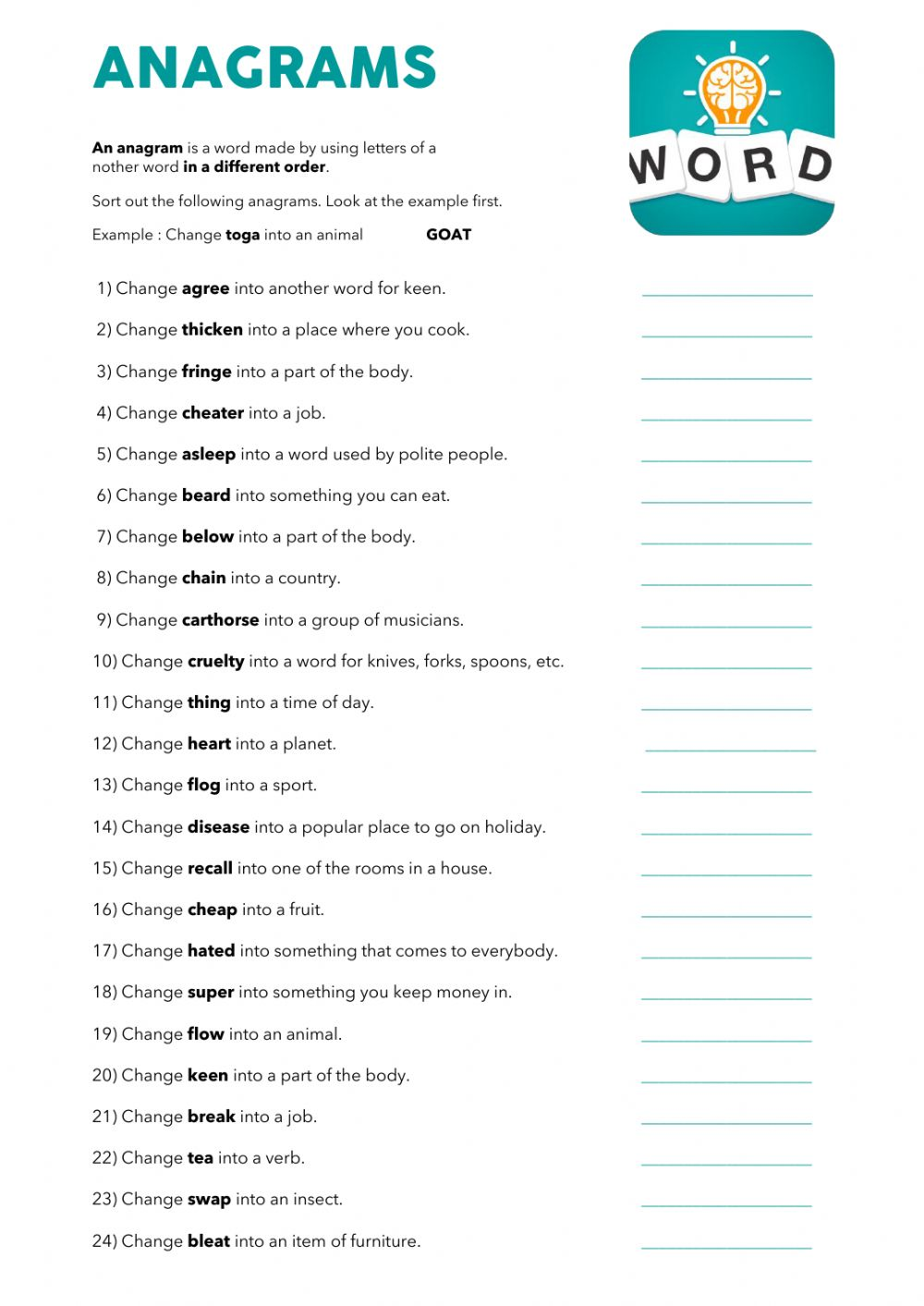 Anagrams Interactive And Downloadable Worksheet You Can Do The Exercises Online Or Download The Worksheet As P Anagram Words Vocabulary Games For Kids Anagram [ 1413 x 1000 Pixel ]