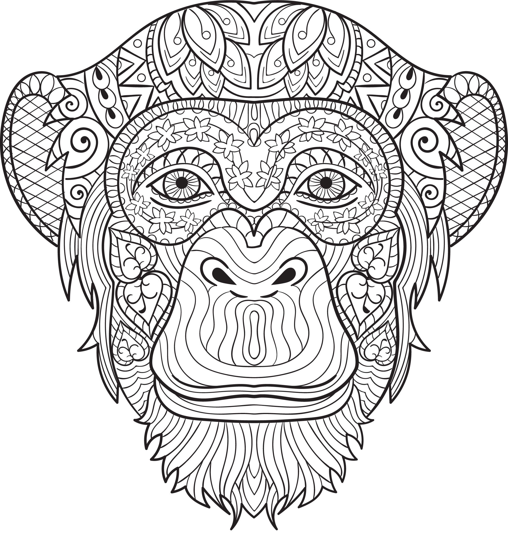 Adultcoloringbooks Creativelycalm Coloringbooks Chimpanzee