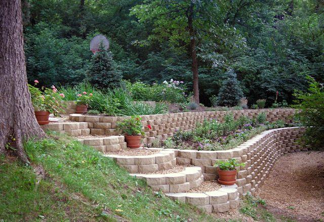 Stone Steps And Garden Wall Garden Retaining Wall Backyard Retaining Walls Sloped Garden