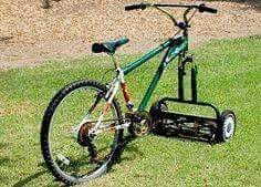 Old bike to exercise mower.