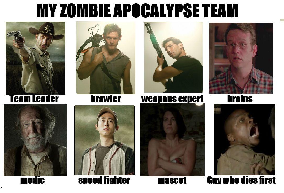 My Zombie Apocalypse Team Zombie Apocalypse Team The Walking Dead Walking Dead Memes