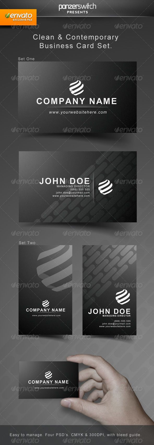 Clean modern business card set business cards print templates clean modern business card set magicingreecefo Choice Image