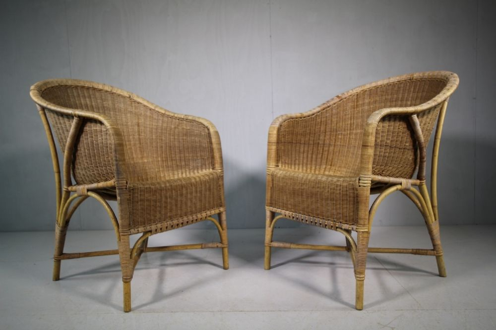 Pair Of 1920u0027s Dryad Wicker Garden Chairs