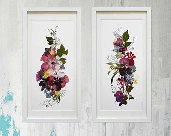 Gepresste Blumenkunst Botanische Drucke Mischtechnik von FloralCollage  The post…
