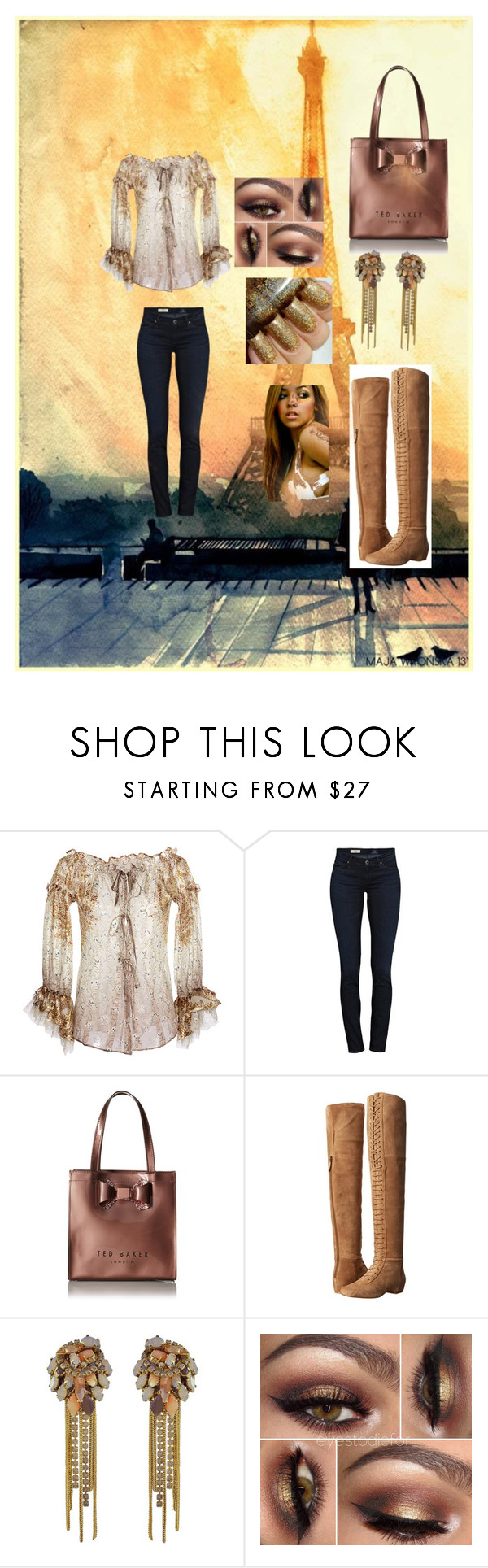 """"""""""" by vjwilkerson ❤ liked on Polyvore featuring Etro, AG Adriano Goldschmied, Ted Baker, Nine West, Erickson Beamon, women's clothing, women's fashion, women, female and woman"""