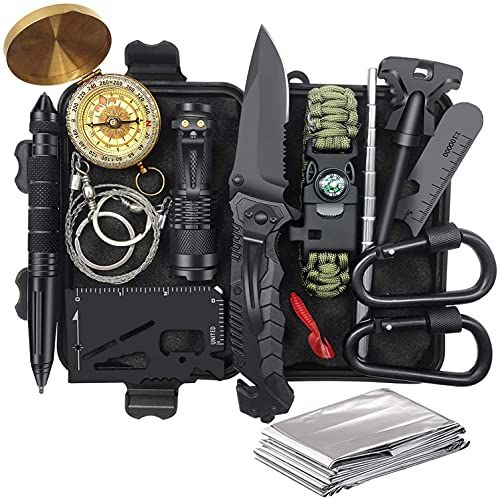 Gifts for Men Dad Husband Fathers Day from Daughter Wife Son, Survival Gear and Equipment 14 in 1, Fishing Hunting Birthday Gifts Ideas for Him Boyfriend, Cool Gadget, Survival Kit Emergency Camping - Default