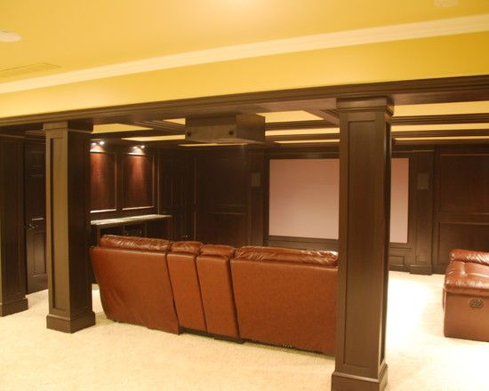 Basement Pillars simple...depends on ceiling beam finish. If not raw, this simple trim works.