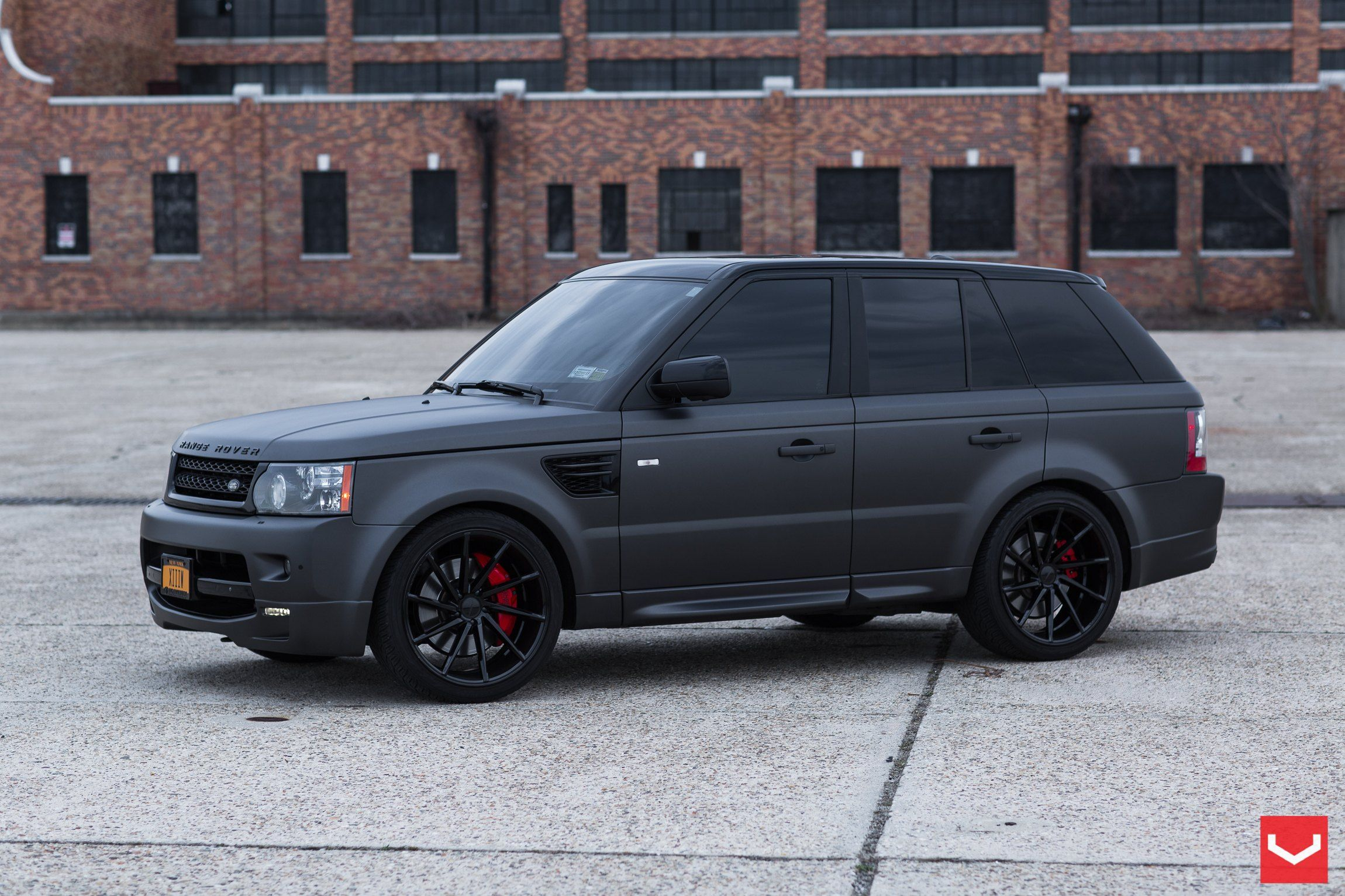 Black on Black Matte Land Rover Range Rover Sport with Custom Rims